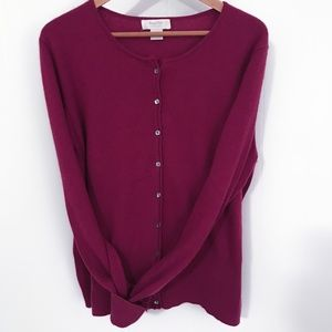 Vintage Marshall Fields Cashmere Cardigan Magenta Size Large Great Condition